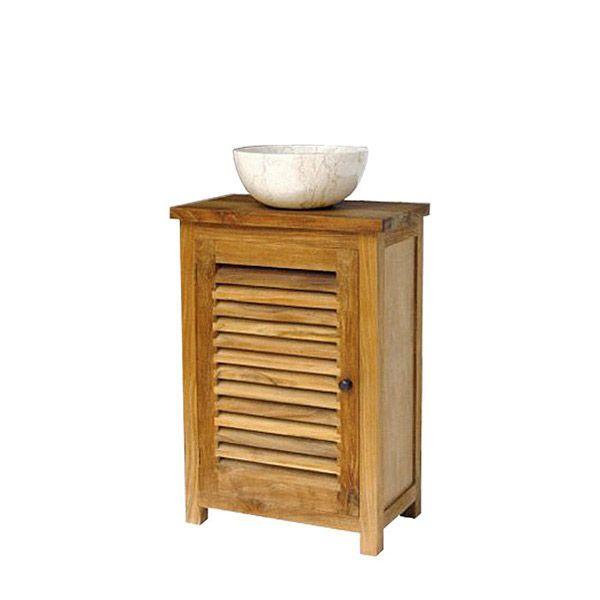 Миниатюрная тумба под раковину из массива тика для небольшой ванной комнаты. Возможна в отделке natural и white wash. Высота тумбы со съемными ножками 84см, без - 75см.             Материал: Дерево.              Бренд: Teak House.              Стили: Прованс и кантри, Скандинавский и минимализм.              Цвета: Коричневый.