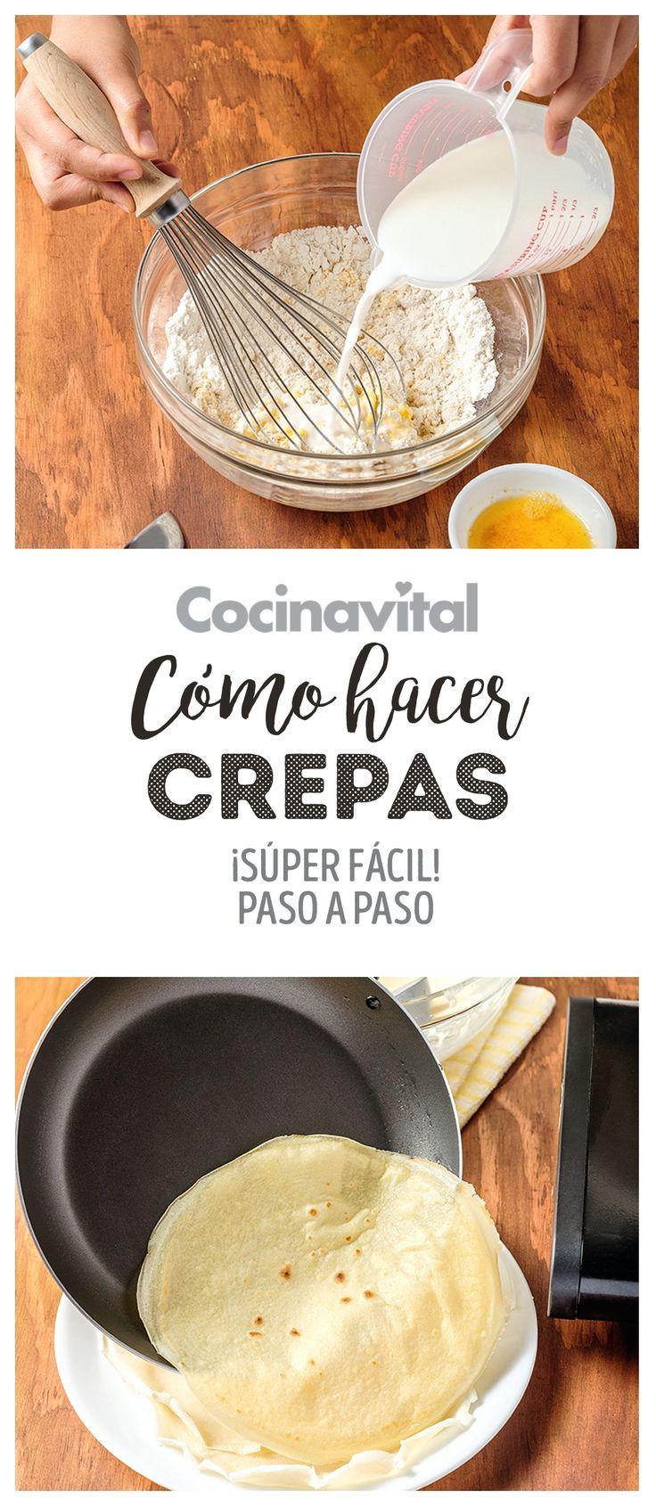 ¿Cómo hacer crepas fácilmente con la receta básica? Sigue los pasos para crear la masa de la crepa dulce o salada y después añade nutella, queso crema y más