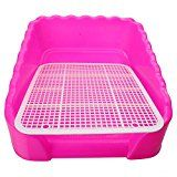 Xinlink New Indoor Pet Cat Puppy Dog Potty Pee Toilet Training Pad Holder Tray Litter Box with Fence Large Size L Pink Color (L, Pink)