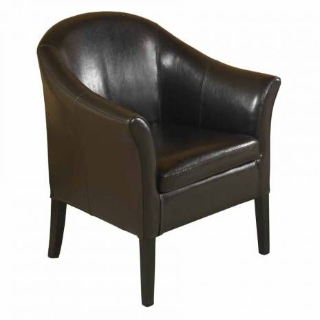 Brown Bonded Leather Club Chair  Brown Leather Club Chair Espresso Finish LegsLap of luxury. This smart looking rich brown leather club chair is great for home or office. Comfortable padding and California Fire Retardant rated.