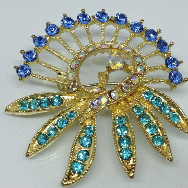 Vintage FLOWER SPRAY BROOCH PIN Blue & Aurora Borealis Glass Rhinestone Gold Ton $5.00 Sale! #ebay #vintagebrooch #rhinestonebrooch #vintagerhinestonejewelry