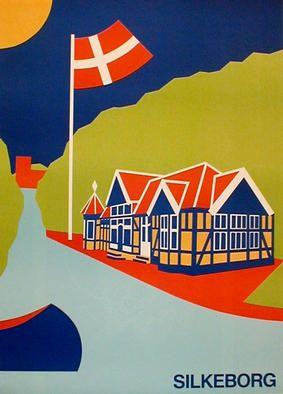 Asbjorn Lonvig 'harbor', 1990 Acrylic Painting