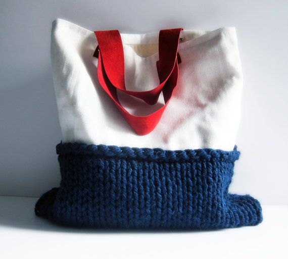 White linen tote bag navy blue chunky knit red suede by memake, £60.00