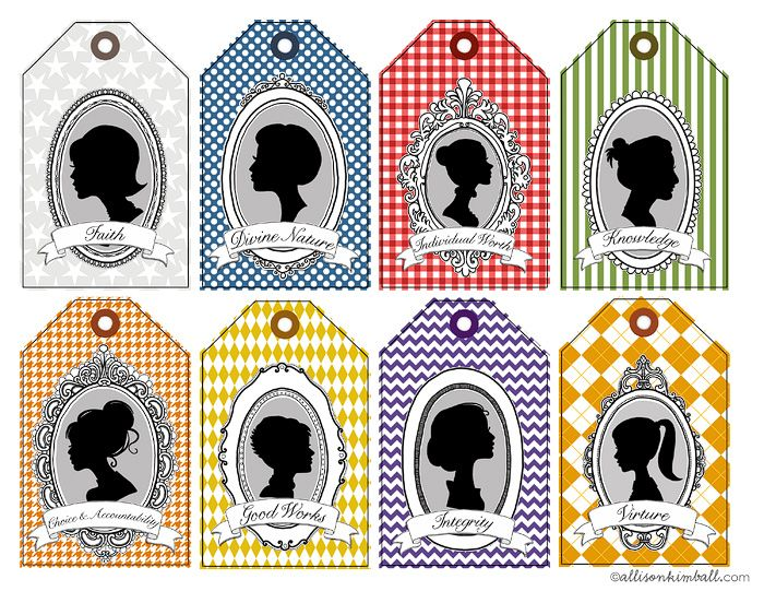 Adorable YW value tags my favorite is the Choice and Accountability one :)