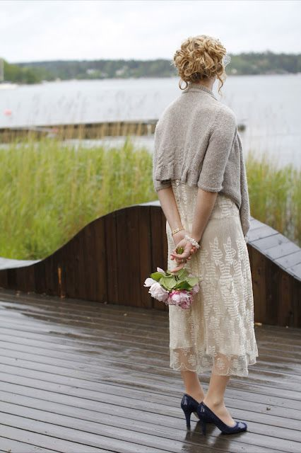Wedding knitwear doesn't always have to be white! Irene chose the Duchess Cardigan in Alpaca Mist for her big day!
