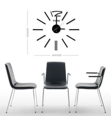 Praktické samolepící hodiny v čerbé barvě s výraznými čárami místo číslic v pravidelném kruhu. Hodiny můžete umístit dle svých představ na plochu a vytvořit tak nevšední a stylový interiér. Hodinový strojek lze zavěsit na háček. Hodiny jsou nejen praktickým, ale především designovým doplňkem Vašeho interiéru.