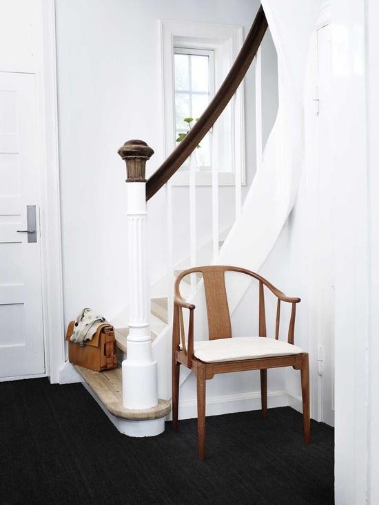 Natural charcoal flooring and white walls