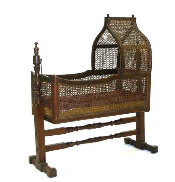 Victorian Walnut Gothic Wicker Cradle in Original Finish. c 1860. - 77 Best Baby Beds & Cradles Images On Pinterest Baby Beds