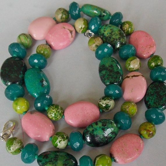 Colour Crush Emerald Green With Pink: Pink, Teal, Emerald & Apple Green Gemstone Necklace