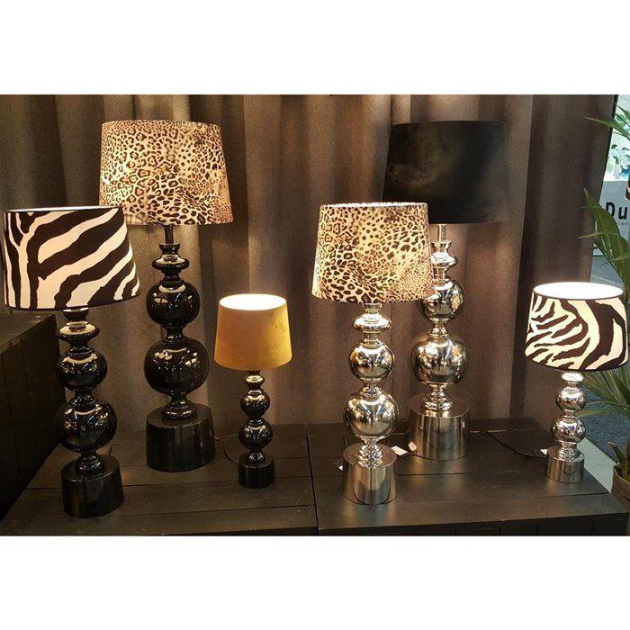 Duza Lampa Stolowa Grace Chrom Z Abazurem Home Decor Lamp Decor