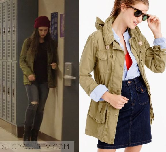 """Hanna (Katherine Langford) wears this khaki green anorak in this episode of 13 Reasons Why, """"Tape 1, Side A"""". It is the [...]"""