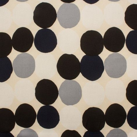Circle & Spot Printed Silk Twill with a Cream Background