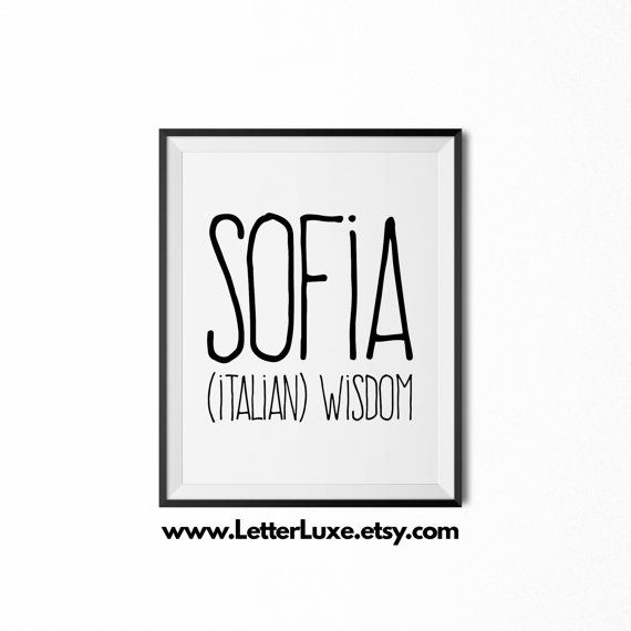 Sofia Name Meaning Art  Printable Baby by LetterLuxePrintables