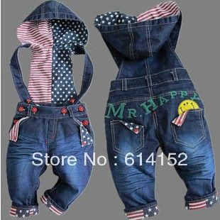 Бесплатная доставка! Верхнего качества детские джинсы модной девушки / мальчик джинсовые комбинезоны осенние детские брюки оптом и в розницу ...
