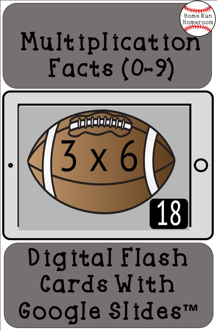 Digital Multiplication Fact Flash Cards 0 9 With Answers Football Themed Flashcards Multiplication Facts Math Resources [ 1098 x 720 Pixel ]