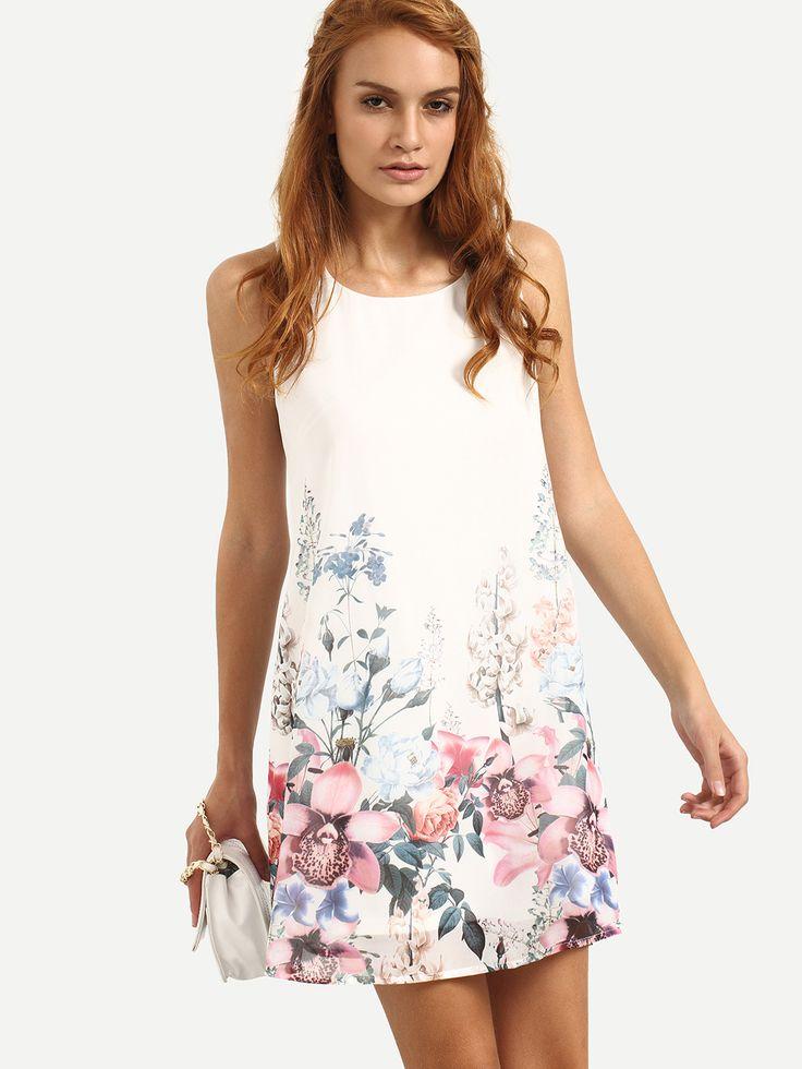 Vestido sin manga floral holgado -multicolor-Spanish SheIn(Sheinside)