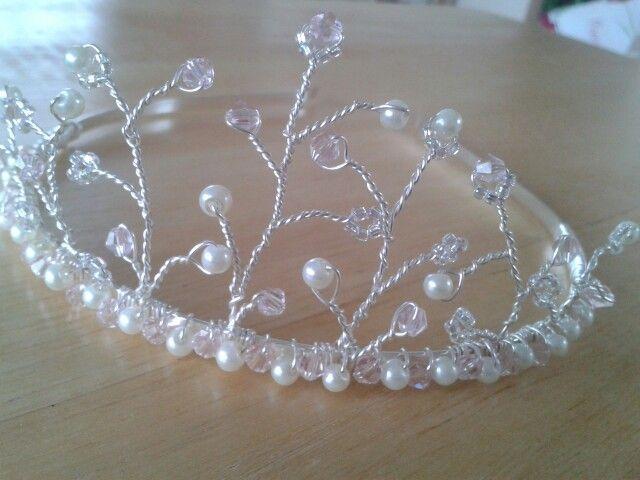 pretty baby pink crystal and ivory pearl handmade tiara