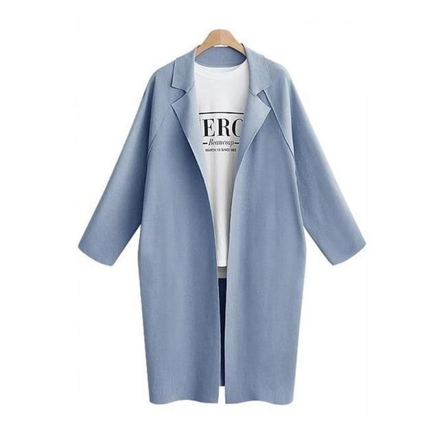 Women Solid Color Coat Lady's Long Section Turn-collar Windbreaker Coat Plus…