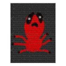 Red Spider Brown Wall Painting Graffiti Kids Art Poster