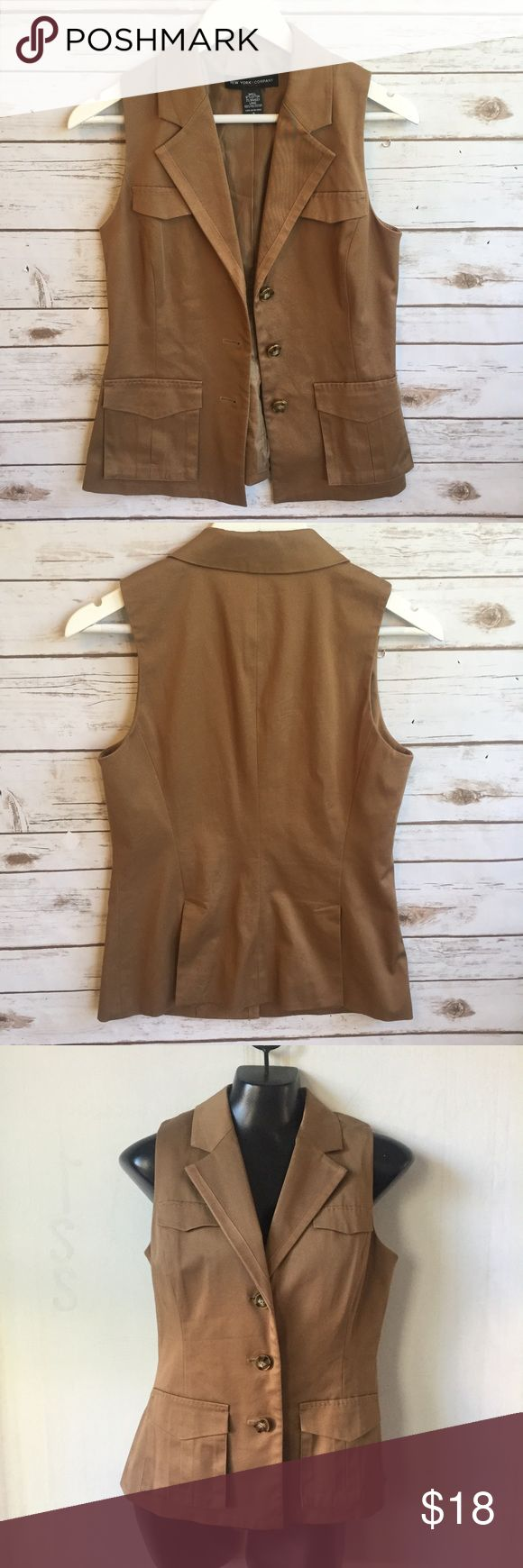 "NEW YORK & COMPANY  Structured Vest Nicely structured camel Vest Size 2 24"" long 17"" bust  Thank you for looking and please check out the rest of my closet. New York & Company Jackets & Coats Vests"