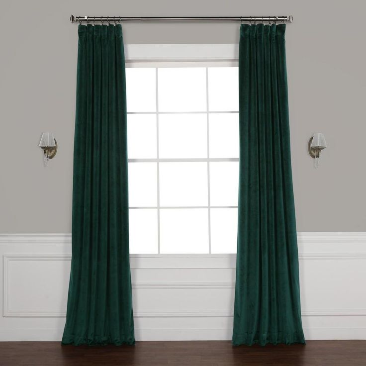 Exclusive Fabrics & Furnishings Forestry Green Heritage Plush Velvet Curtain – 50 in. W x 120 in. L