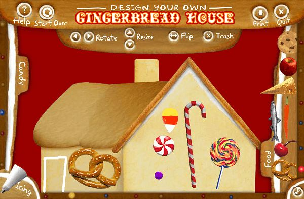 Design your own Christmas Gingerbread house with is fun activity. Once you have finished you can print out your creation.