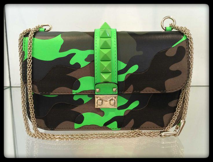 Valentino #bag #camouflage #fluo #stud #SpringSummer #FolliFollie #collection