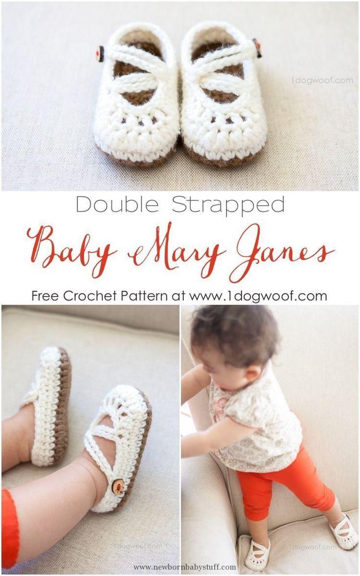 Crochet Baby Booties FREE! Adorable baby mary janes crochet pattern!   www.1dogwo...