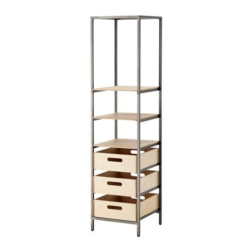 VEBERÖD Shelf unit IKEA Unleash your creativity and hang personal decorations or lighting in the steel mesh on the top.
