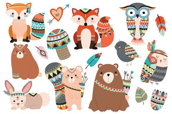 Woodland Tribal Animals Vector & PNG by Kenna Sato Designs on @creativemarket https://crmrkt.com/Wk9XA