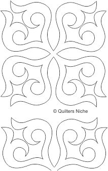 Machine quilting: SCF-351 scrollwork block quilting design. This design would work well with the freezer paper marking method.