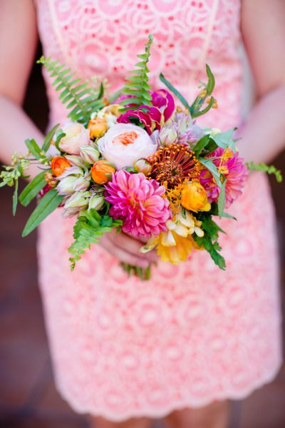 Bright pink bridesmaid bouquet: http://www.stylemepretty.com/2014/12/03/retro-island-inspired-hawaii-wedding/ | Photography: Acqua Photo - http://acquaphoto.com/