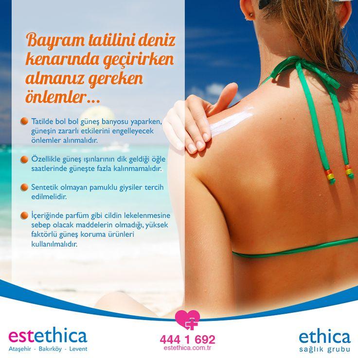 Bayram tatilinde #deniz, #kum ve güneşin tadını bir arada çıkaranların dikkat etmesi gereken püf noktalar... #estethica #SağlıklıGüzellik #ŞekerBayramı #şeker #BayramlarıGüzelYapanŞey #istanbul #tatil #cuma #huzur #sevgi #sağlık #yaz #plaj #kumsal #bronz