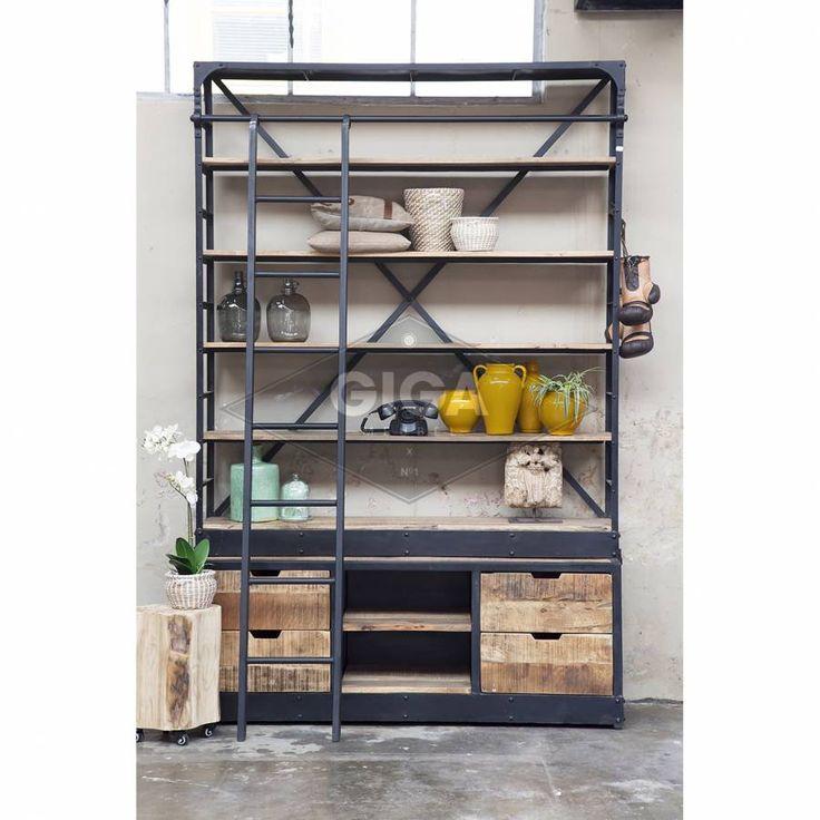 Industriele Boekenkast Ladder Groot