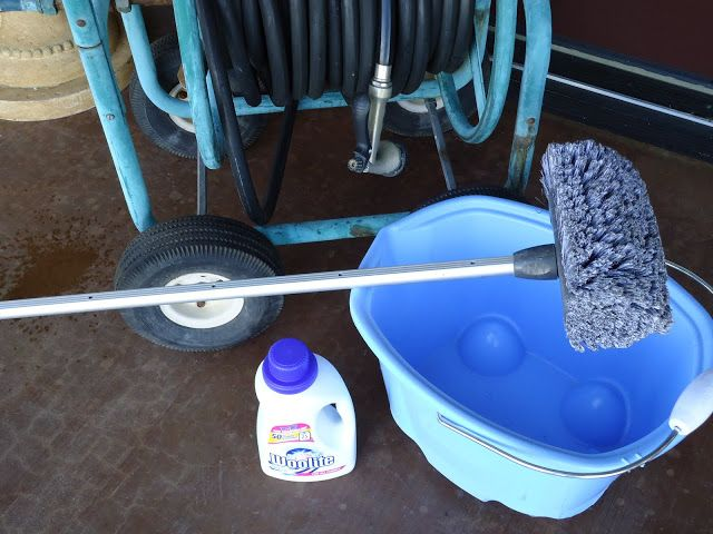 Another pinner said...Wash outdoor windows with Woolite.  I have been doing this for years and found a blog with photos.  I use 1/2 cup to 1 gallon warm water, but other than that I do the same as this blogger using a soft car washing brush on an extension handle. Makes outdoor window cleaning easy.