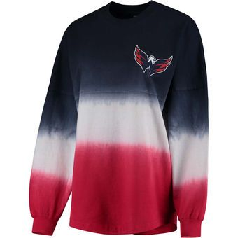 Women's Washington Capitals Fanatics Branded Navy/Red Ombre Spirit Jersey Long Sleeve Oversized T-Shirt
