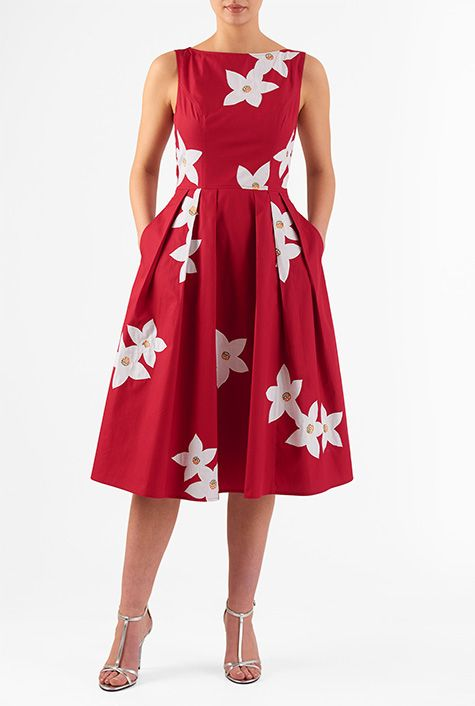 I <3 this Floral applique cotton poplin dress from eShakti