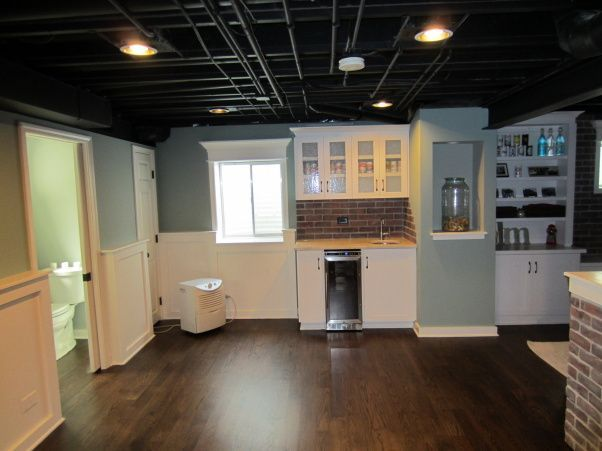 Exposed Basement Ceiling Ideas | Basement, This is our recently finished basement digs. We were intent ...