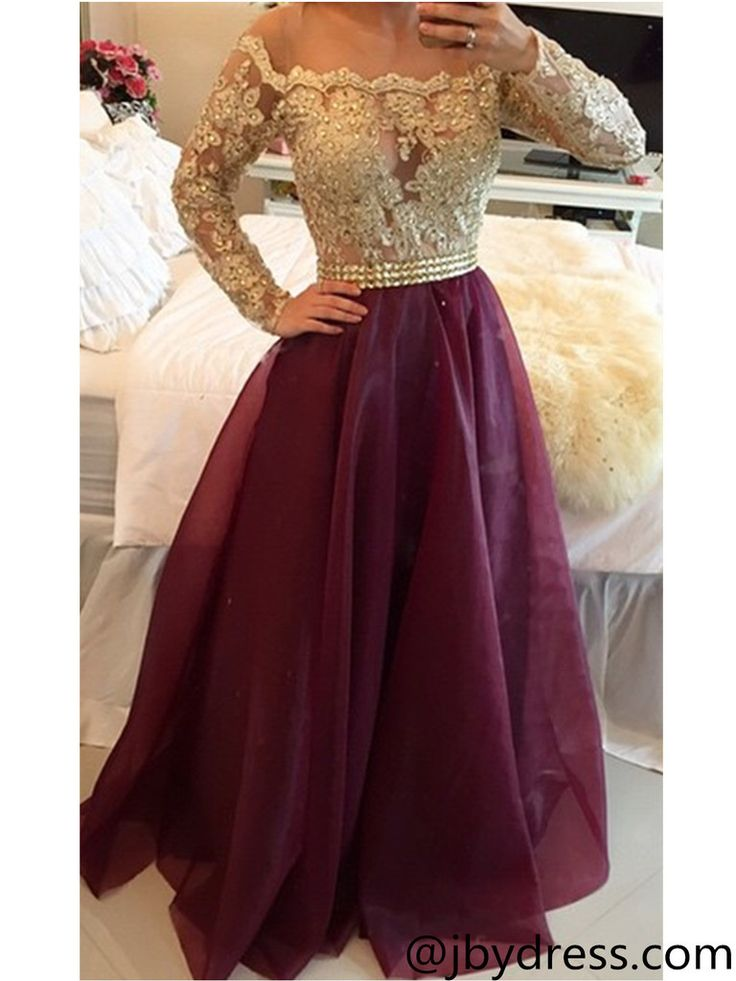 Custom Made Long Sleeves Maroon Prom Dress with Golden Top, Maroon And Golden Formal Dress #golden #maroon #sleeves #lace #fashion #beauty #prom #prom2016 #dresses