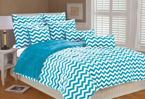 chevon bed spreads.com | Marlo Lorenz 4892 Chevron Microplush Comforter Set, Clear Blue, Full ...
