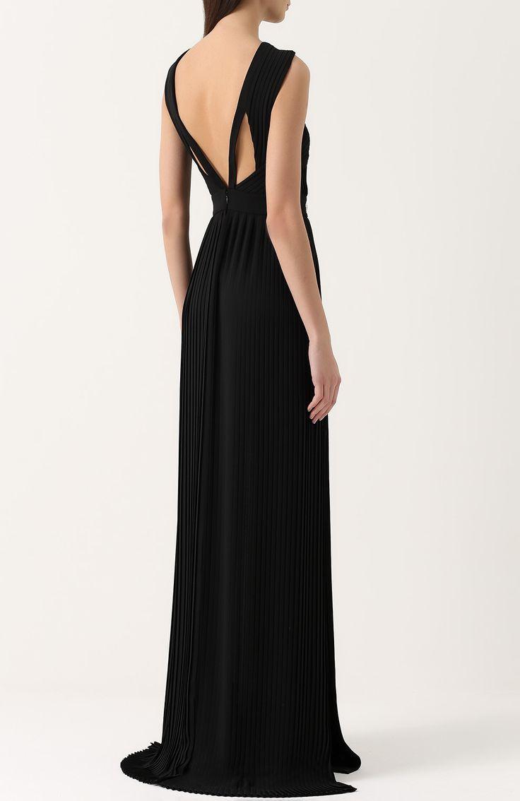 Женское черное платье-макси с высоким разрезом и открытой спиной Philipp Plein, сезон SS 2017
