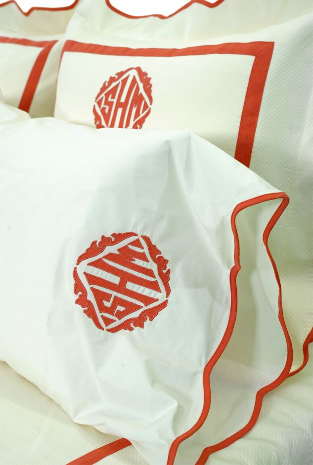 Leontine Linens....hopefully these monogram pillows or ones like them will be in my bedroom