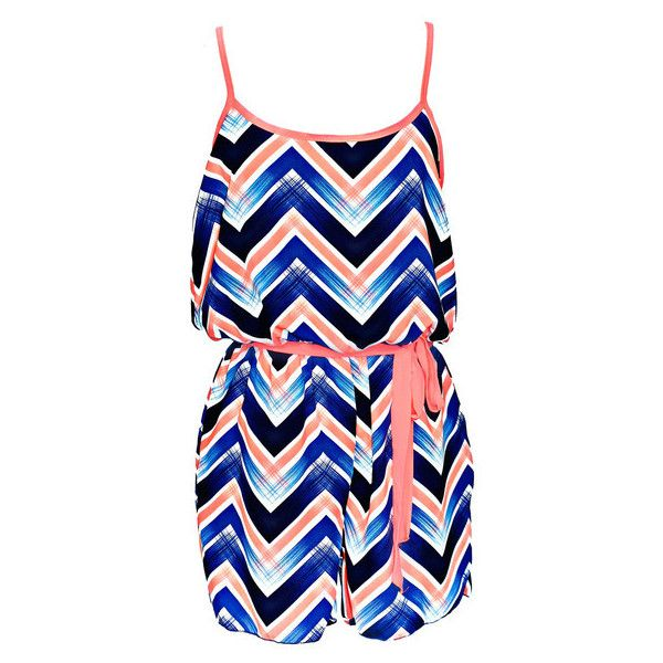 Chevron Tie Waist Romper | uoionline.com: Women's Clothing Boutique (1.000 UYU) ❤ liked on Polyvore featuring jumpsuits, rompers, dresses, playsuit, blue romper, blue rompers and playsuit romper