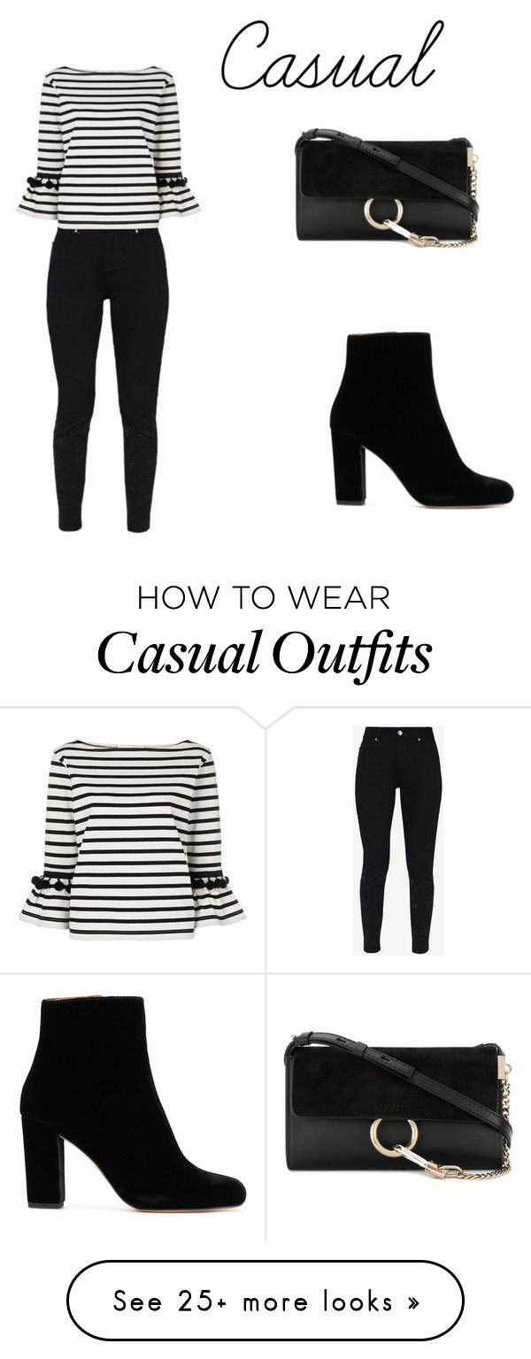 """Casual"" by bellaurq on Polyvore featuring Ted Baker, Marc Jacobs, IRO, Chloé, casual, stripes, Heels, jeans and chole"