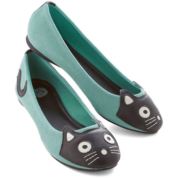 T.U.K. Kawaii Up Your Alley Cat Flat ($48) ❤ liked on Polyvore featuring shoes, flats, ballet flats, zapatos, flat, mint, flat shoes, wide flats, ballet shoes and ballet pumps