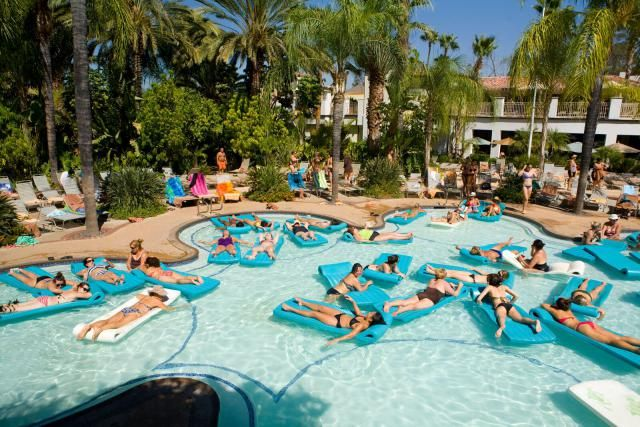 Glen Ivy Hot Springs Spa is an 11-acre oasis in the desert outskirts of Corona, California about an hour drive (57 miles) south-east of Los Angeles.