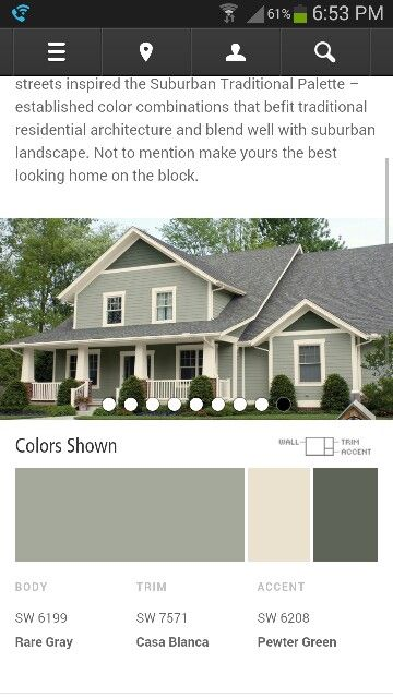 Possible house colors     http://www.sherwin-williams.com/homeowners/color/find-and-explore-colors/paint-colors-by-collection/exterior-color-schemes/suburban-traditional/