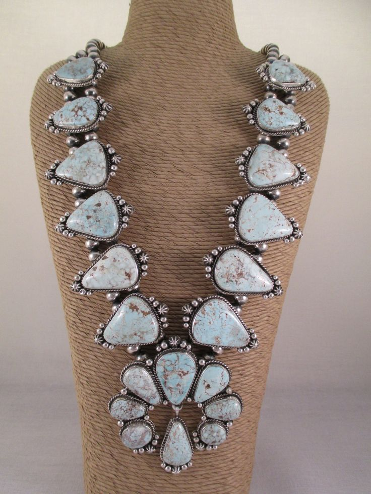 Dry Creek Turquoise Squash Blossom Necklace & Earring Set - Two Grey Hills