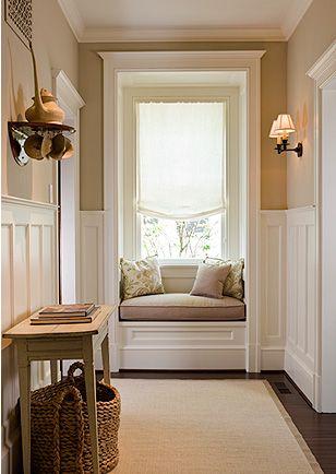 Anne Decker Architects, beautiful window seat: Upstairs Hallways, Wall Colors, Cozy Nooks, Idea, Small Window, Window Nooks, Reading Nooks, Small Spaces, Window Seats