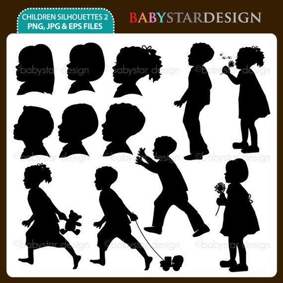 Children Silhouettes 2 Clipart Set INSTANT by babystardesign, $5.00